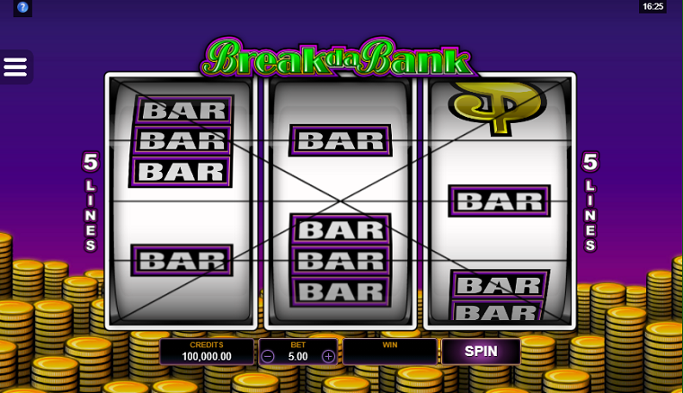 break da bank beginscherm