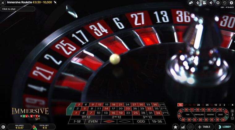 immersive roulette speelronde