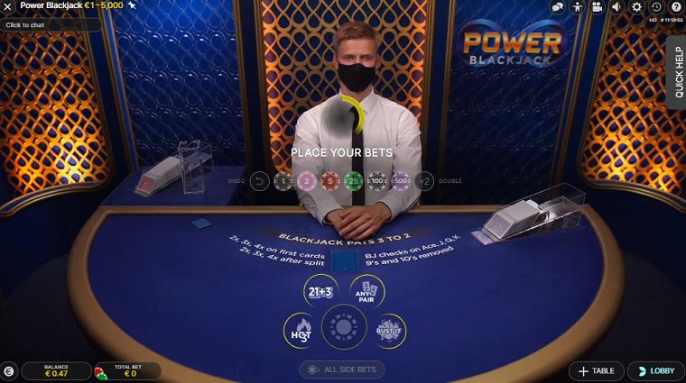 power blackjack bets
